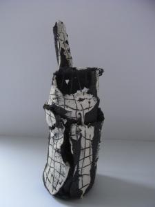black and white ceramic bottle