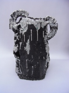 Vase - Black clay and porcelain slip
