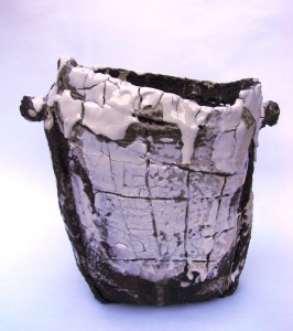 Vessel - Black clay and porcelain slip