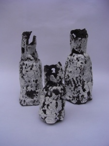 Candle holders - Black clay and porcelain slip